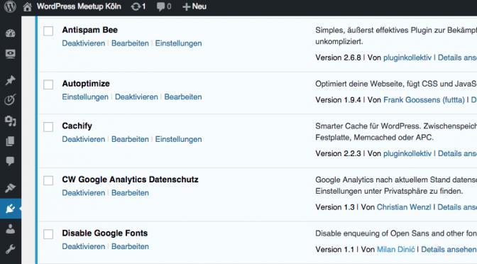 Performance Optimierung von wpcgn.de